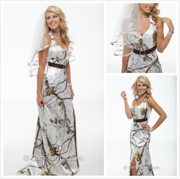 new arrival white snow camo wedding dresses halter sheath camouflage bridal dresses with belt realtree wedding party gowns pink wedding gowns sequin Snow Camo Wedding Dress