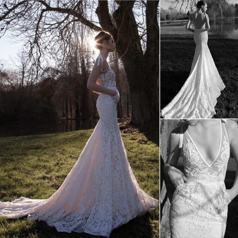 new sexy lace inbal dror wedding dresses white deep v neck sleeveless mermaid backless chapel train lace bridal gowns hot sale customed 2019 wedding Inbal Dror Wedding Dress For Sale