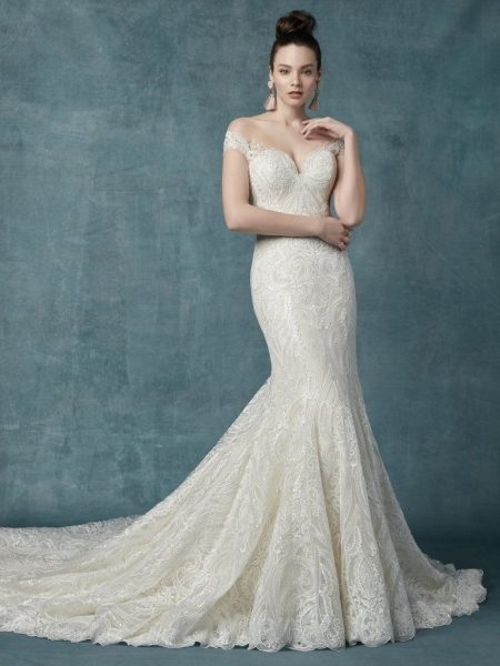 off the shoulder lace and sequin fit and flare wedding dress Pretty Maggie Sottero Wedding Dresses