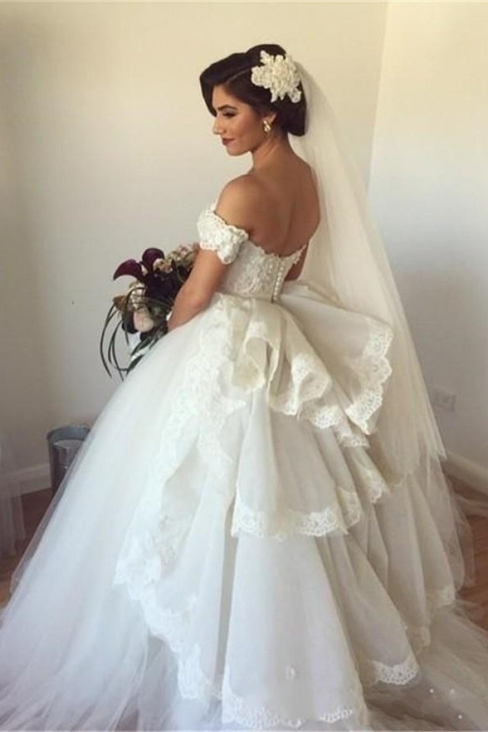 off the shoulder wedding dress puffy tulle ball gown bridal dress with lace Wedding Dresses Poofy