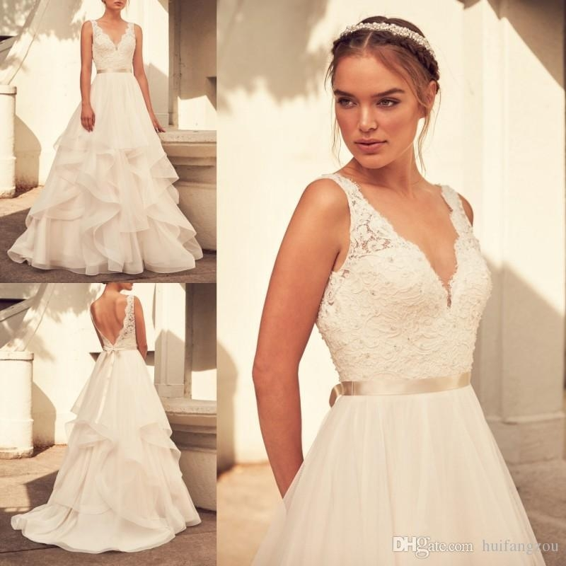 paloma blanca spring 2018 cheap wedding dresses v neck lace applique a line bridal gowns simple sleeveless sweep train wedding dress Paloma Blanca Wedding Dress