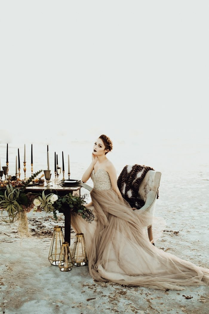 picture of a moody look with an earthy wedding gown with an Earthy Wedding Dresses