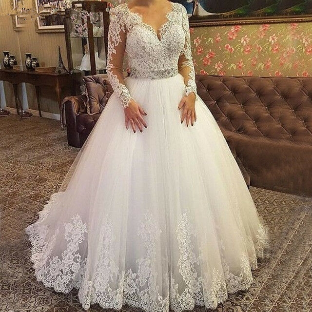 plus size long sleeves lace wedding dresses bridal gown tulle v neck ball gowns Ebay Lace Wedding Dress