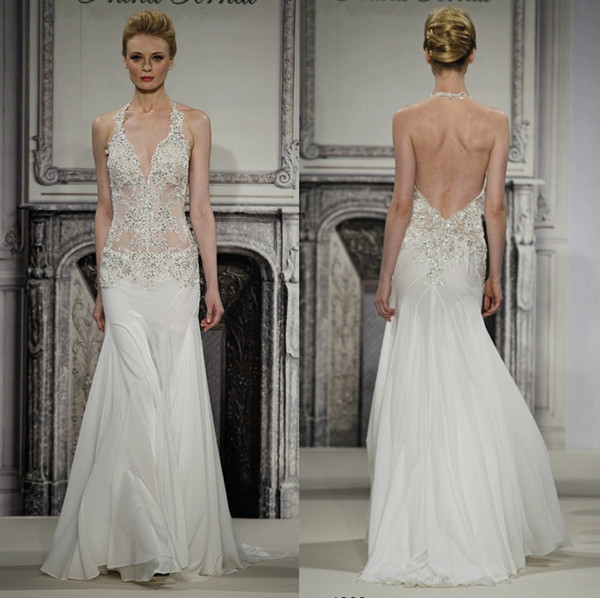 pnina tornai 2014 exquisite design see through wedding dresses mermaid halter ivory chiffon appliques beads sweep train bridal gowns wedding dress Pnina Tornai Wedding Dresses For Sale