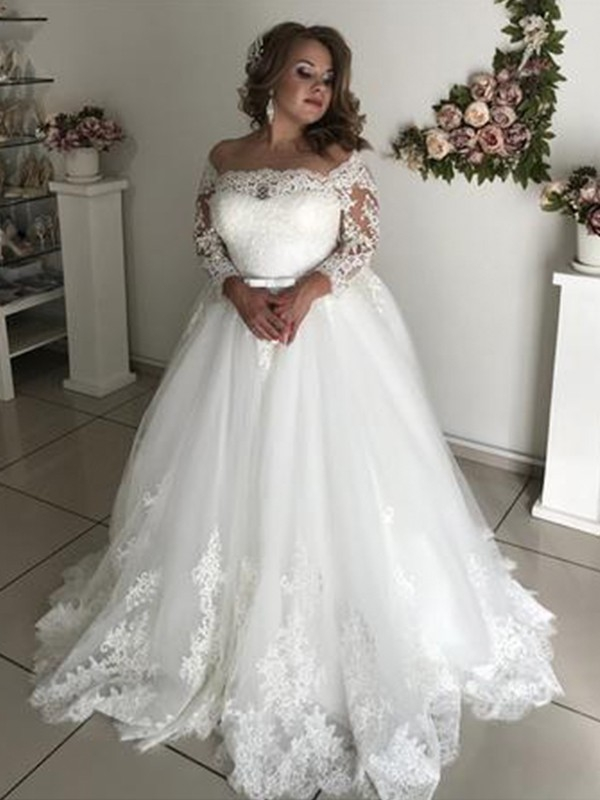 pretty looks princess style off the shoulder long sleeves sweepbrush train lace tulle wedding dresses Prettyco Wedding Dresses