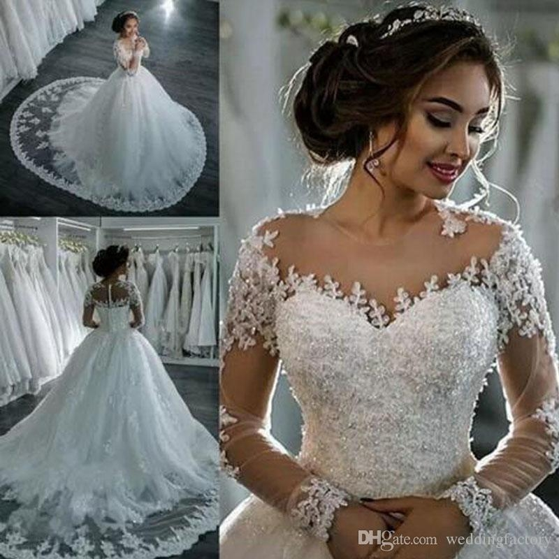 princess lace ball gown wedding dresses vestido de novia illusion long sleeve beaded lace appliques puffy bridal gown with train lace wedding gowns Dhgate Wedding Dress