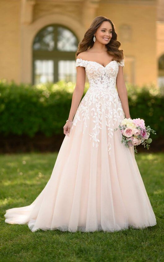 romantic a line wedding gown with organic leaf pattern Wedding Dresses For Seniors