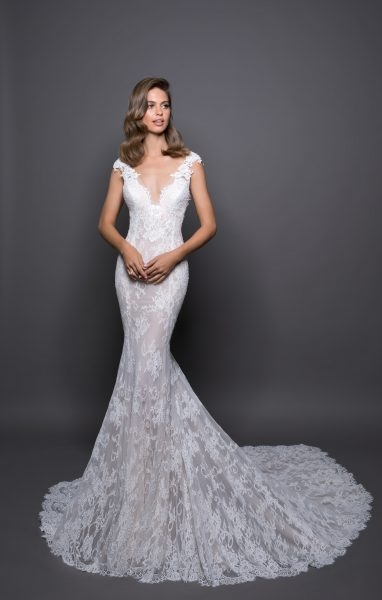 romantic sheath wedding dress Pnina Wedding Dress