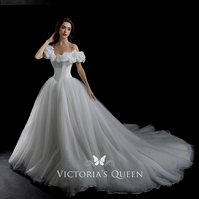 ruffled off the shoulder basque waist off white tulle cinderella wedding ball gown Cinderellas Wedding Dress
