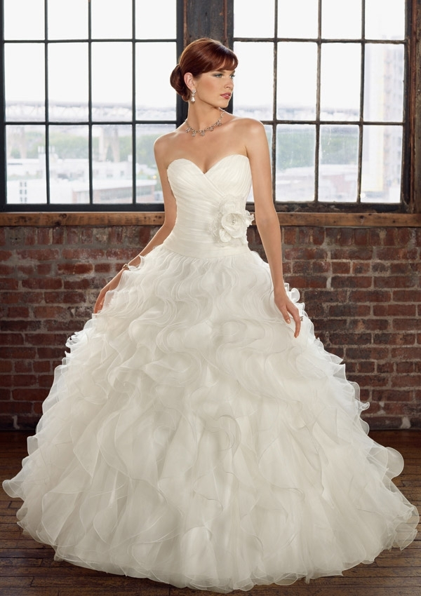 ruffled organza wedding dress accented with flower morilee Mori Lee Wedding Dresses s