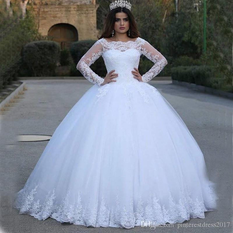 said mhamad white wedding dresses puffy 2017 elegant lace long sleeve applique princess ball gowns vetidos de novia bridal gowns Wedding Dresses Poofy