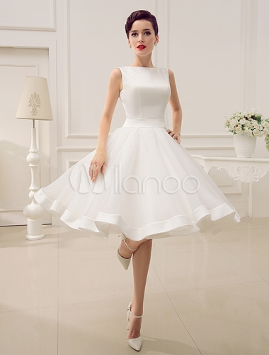 short wedding dress vintage bridal dress 1950s bateau sleeveless reception bridal gown milanoo Milanoo Wedding Dress