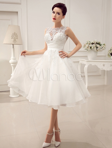 short wedding dresses vintage 1950s bridal gown backless lace beading pleated sequins illusion wedding reception dress with milanoo Milanoo Wedding Dresses