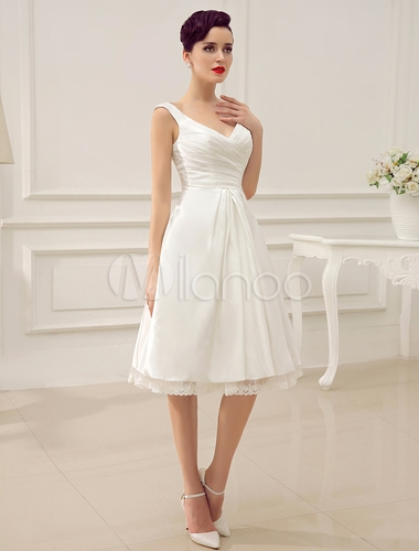 simple wedding dresses ivory wedding dress knee length backless straps lace bridal dress Milanoo Wedding Dress