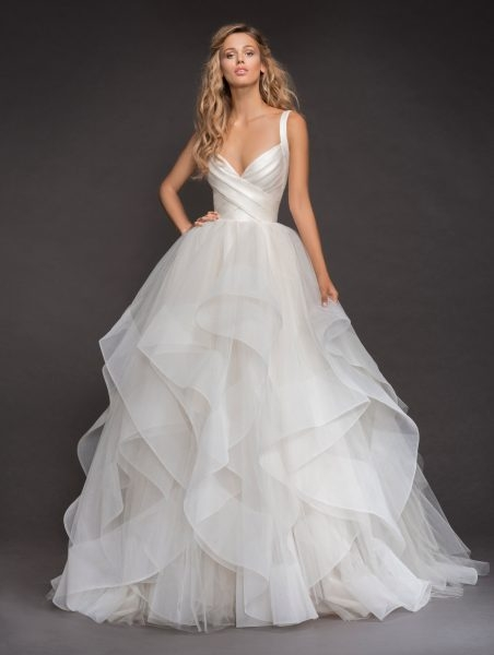sleeveless bandage bodice horsehair trip skirt ball gown wedding dress Hayley Paige Wedding Dresses s
