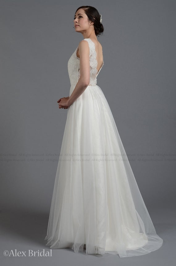 sleeveless lace wedding dress v back alencon lace with tulle skirt Alencon Lace Wedding Dress