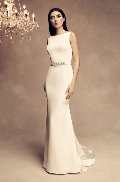 sleeveless satin fit and flare wedding dress Paloma Blanca Wedding Dress