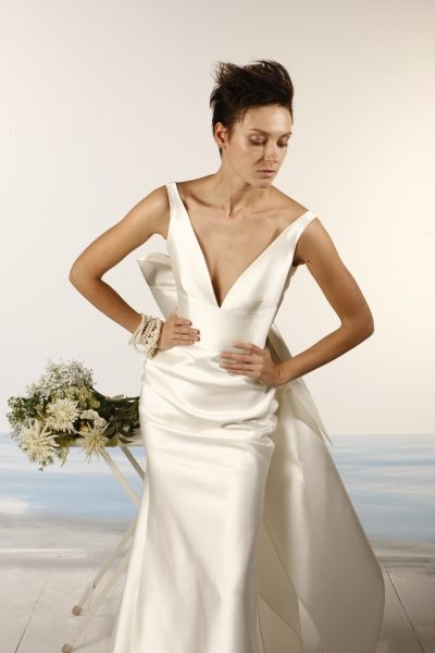 sleeveless v neck satin fit and flare wedding dress Di Gio Wedding Dresses