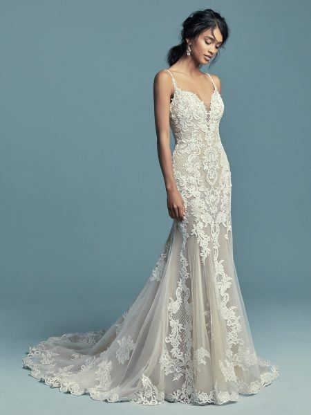 spaghetti strap plunging sweetheart neckline beaded lace fit and flare wedding dress Pretty Maggie Sottero Wedding Dresses