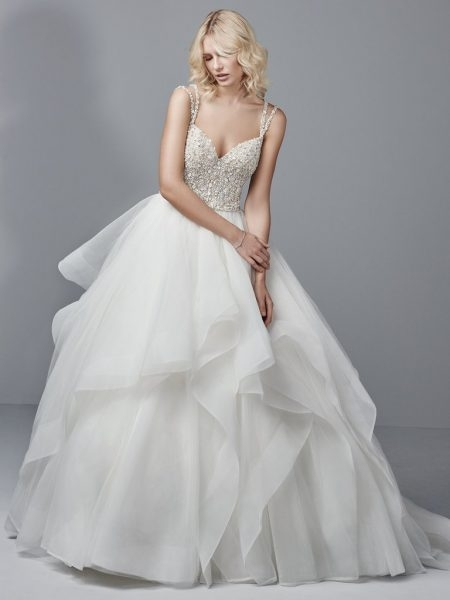 spaghetti strap v neck ball gown with beaded bodice and tiered tulle and horsehair skirt Wedding Dress Kleinfeld
