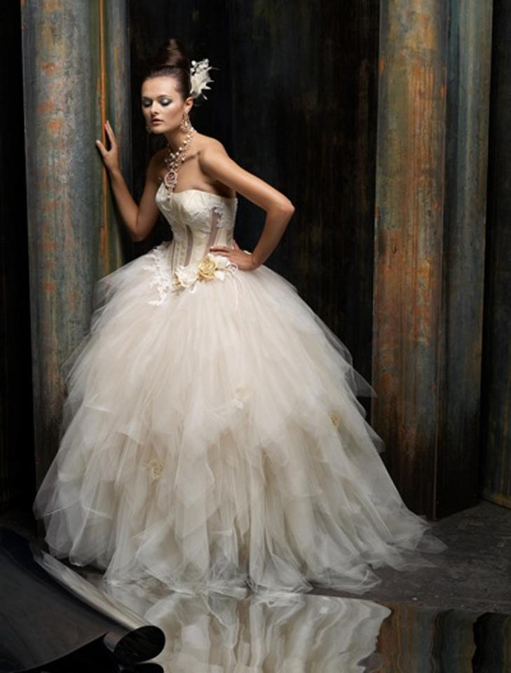 st pucchi ivorybuttercream tulle silk shantung and lace isla z256 formal wedding dress size 6 s 63 off retail St Pucchi Wedding Dress
