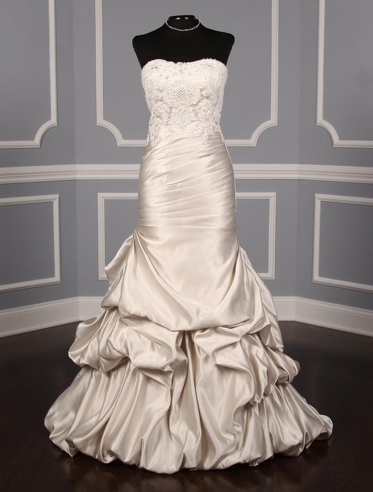 st pucchi oyster satin and beaded lace vivienne 711 formal wedding dress size 8 m 57 off retail St Pucchi Wedding Dress