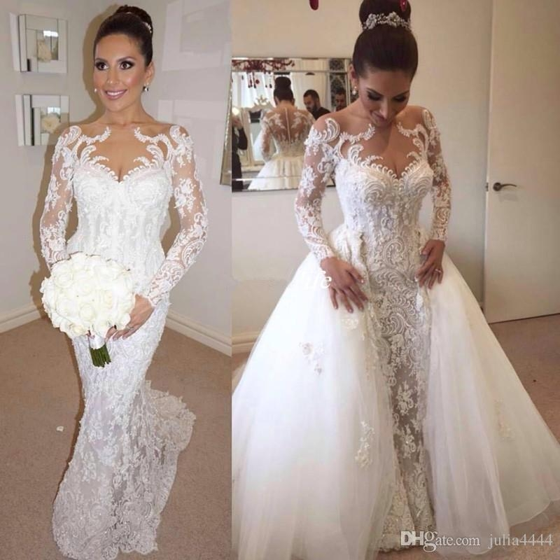 steven khalil wedding dresses with detachable skirt 2019 luxury detail beaded pearls long sleeve mermaid dubai arabic bridal wedding gowns cheap Steven Khalil Wedding Dress