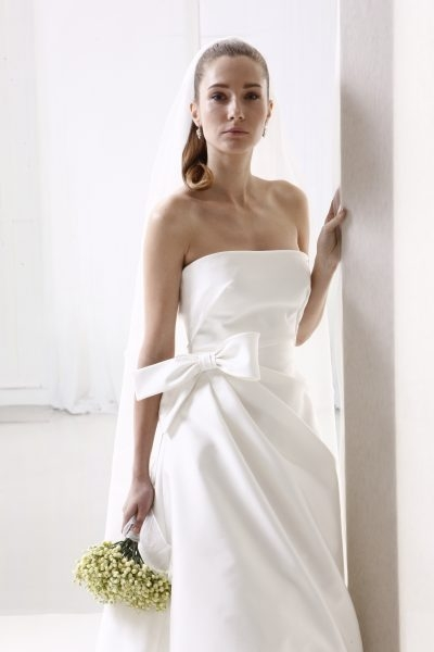 straight neckline simple ball gown wedding dress Di Gio Wedding Dresses