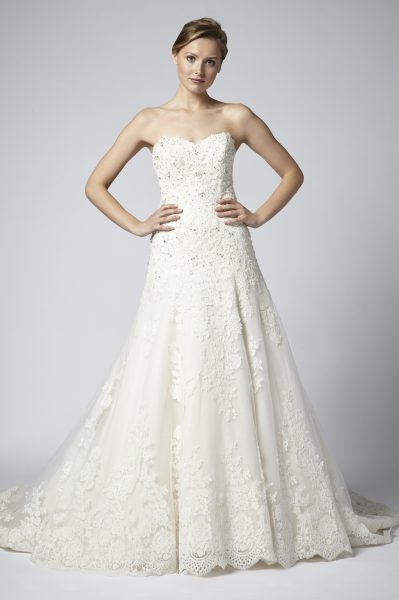 strapless lace beaded a line wedding dress Alencon Lace Wedding Dress