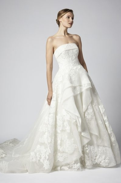 strapless tulle and beaded ball gown tiered wedding dress Henry Roth Wedding Dresses