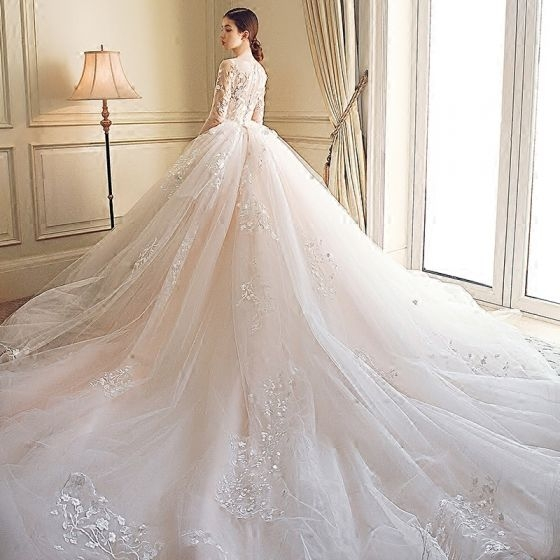 stunning wedding dresses 2018 ball gown lace appliques embroidered scoop neck 34 sleeve royal train wedding Prettiest Wedding Dresses Ever