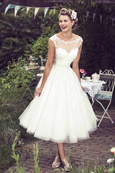 tea length bridal and 50s style short wedding dresses Fifties Style Wedding Dress