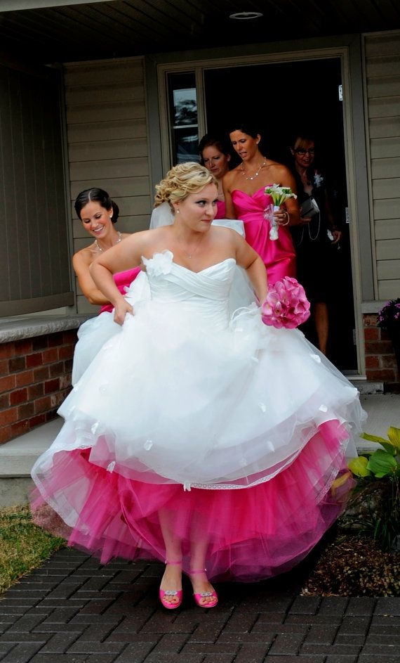 the coloured crinoline will be under the skirt of your Colored Petticoats For Wedding Dresses