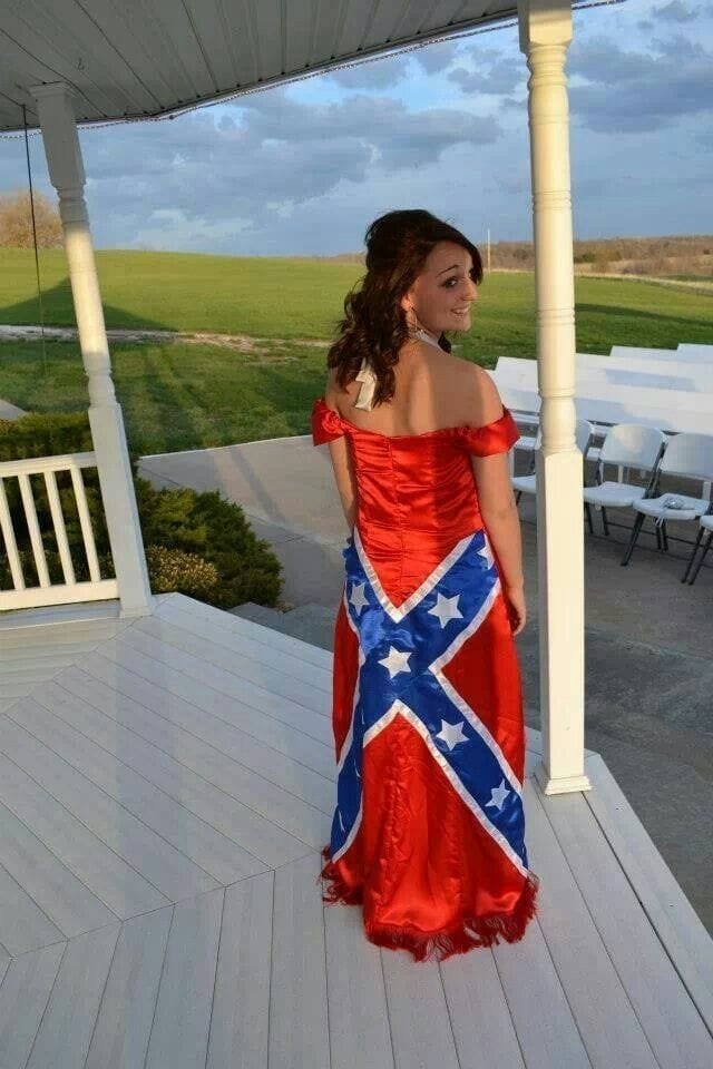 the worst prom dress fails youll ever see confederate Rebel Flag Wedding Dress