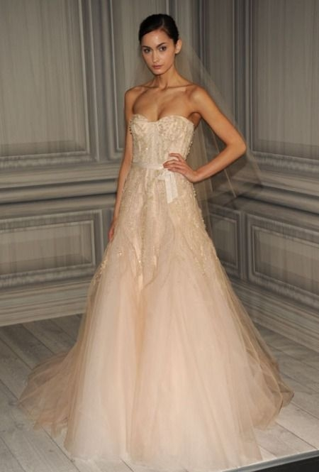 top 3 wedding dresses of the week blush pink edition wed Monique Lhuillier Wedding Dress Pretty
