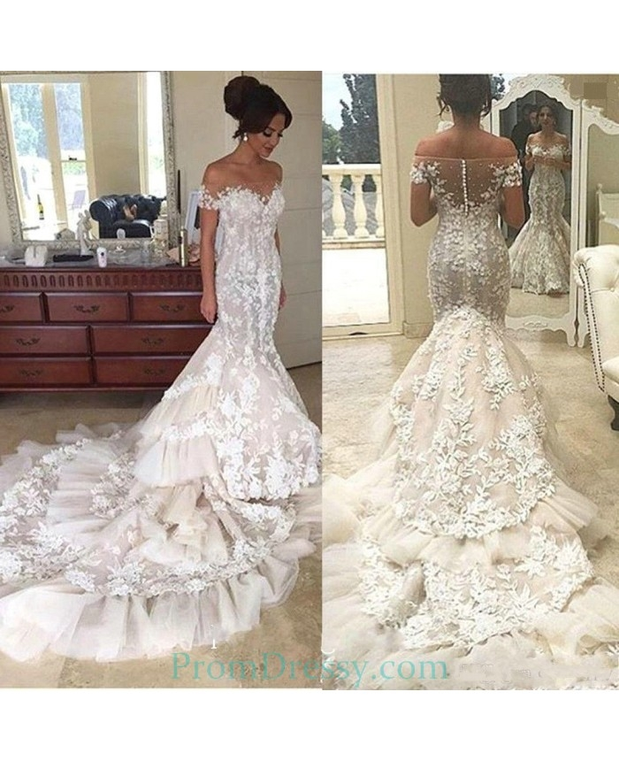 tulle lace appliqued beaded off the shoulder mermaid bride dresses with short sleeves steven khalil wedding dress Steven Khalil Wedding Dress