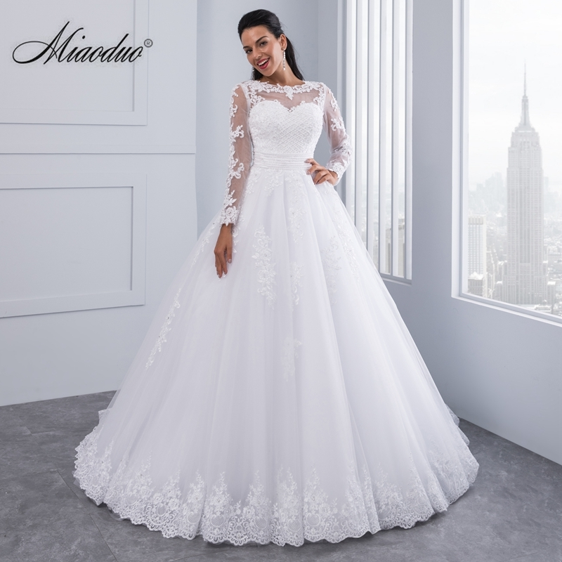us 10152 46 offball gown 2 in 1 wedding dresses 2019 detachable train lace appliques pearls bridal gowns vestido de novias vestidos de noiva in Wedding Dresses Aliexpress