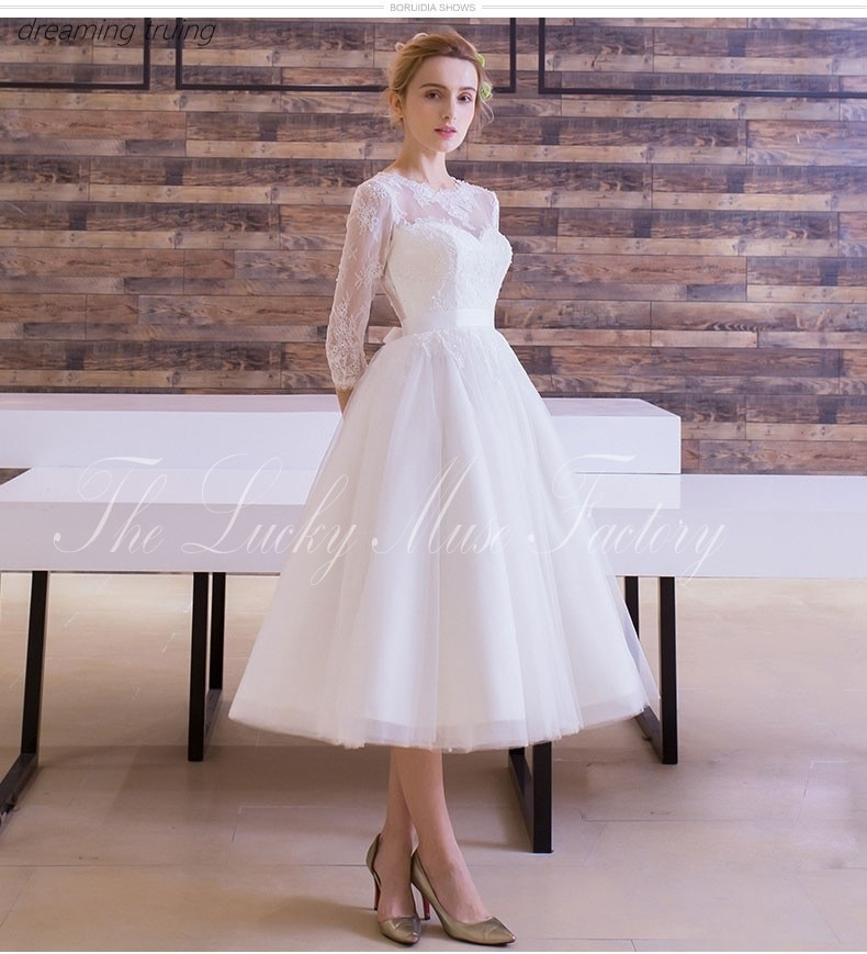 us 1280 vintage 1950s tea length wedding dress 2019 with sleeve a line tulle little white dresses beach bridal gowns robe mariage 2019 in wedding 1950s Tea Length Wedding Dress