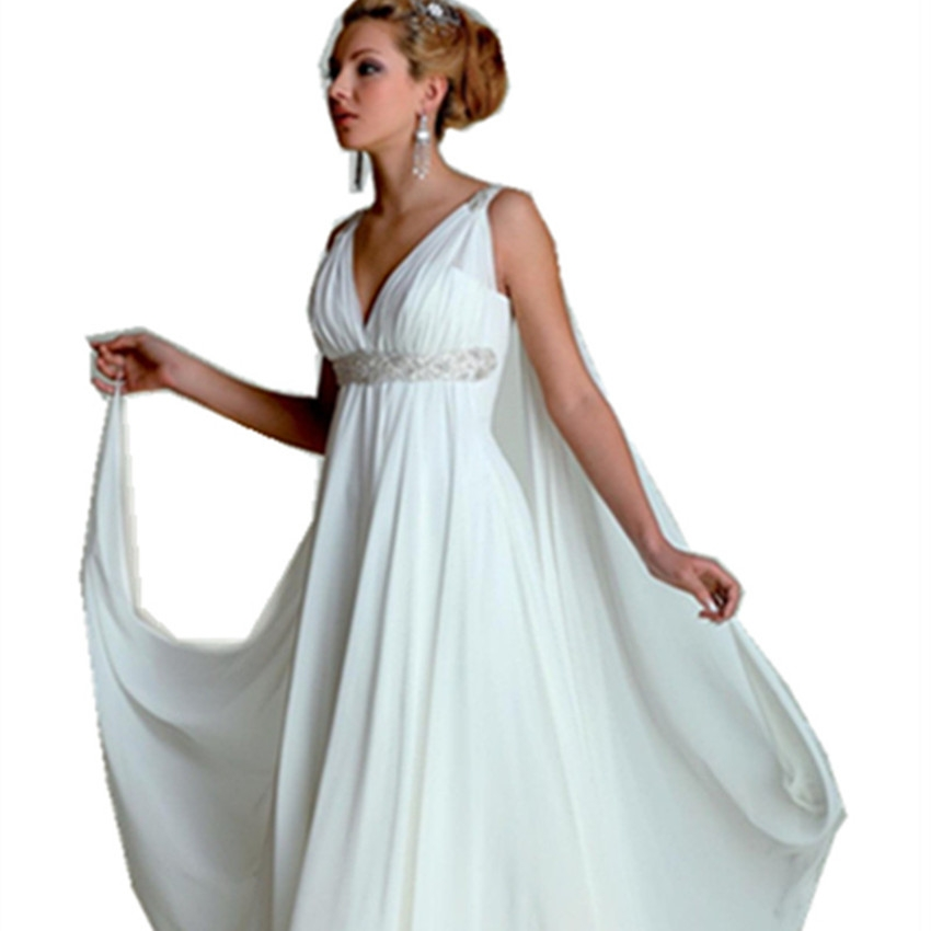 us 13083 11 offgreek goddess wedding dresses v neck empire a line full length beading white chiffon summer beach bridal gown with watteau train in Greek Goddess Wedding Dresses