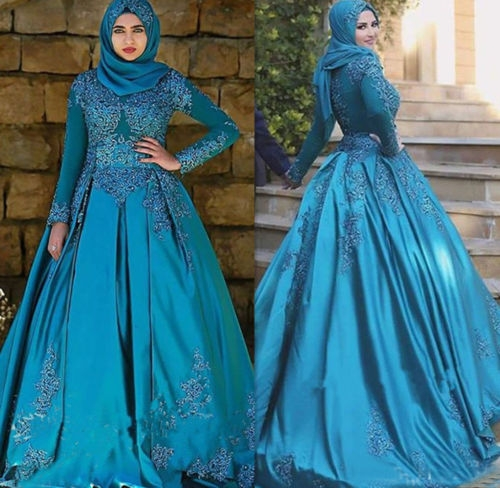 us 1887 15 office blue color long sleeves lace satin muslim wedding dresses with hijab ball gown crystal dubai bridal gowns robe de mariee in Muslimah Wedding Dress
