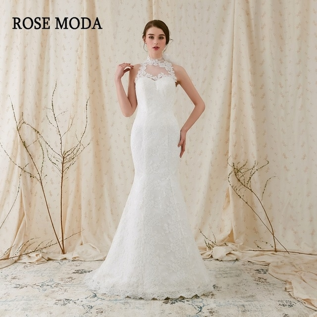 us 1990 rose moda high quality alencon lace mermaid wedding dress 2019 backless lace wedding dresses real photos in wedding dresses from weddings Alencon Lace Wedding Dress