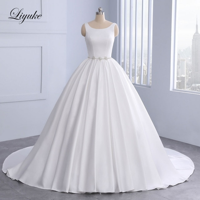 us 21788 20 offaliexpress buy vintage style scoop a line wedding dress court train beading crystals pearls bride dresses with backless floor Aliexpress Wedding Dress