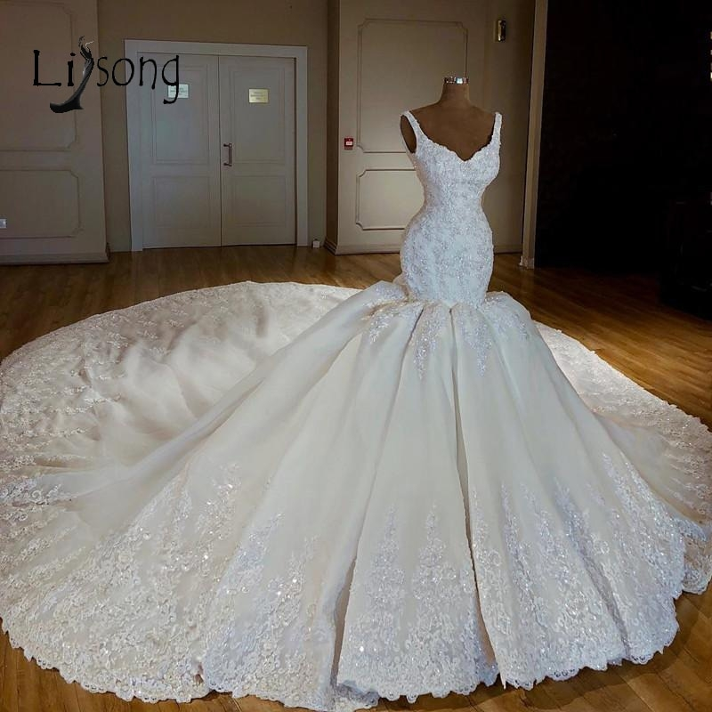 us 24565 15 offluxury abiye mermaid wedding dresses lace bridal gowns with long watteau train beaded crystal dubai wedding dress casamento in Aliexpress Wedding Dress