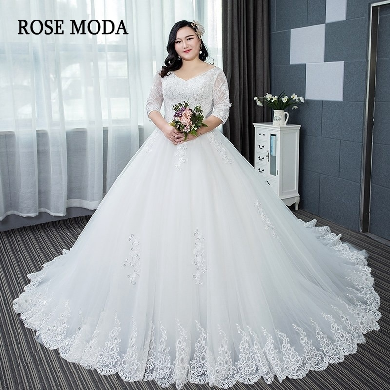 us 2690 rose moda long sleeves plus size wedding dress 2019 long train princess lace wedding ball gown custom make in wedding dresses from weddings Aliexpress Wedding Dress
