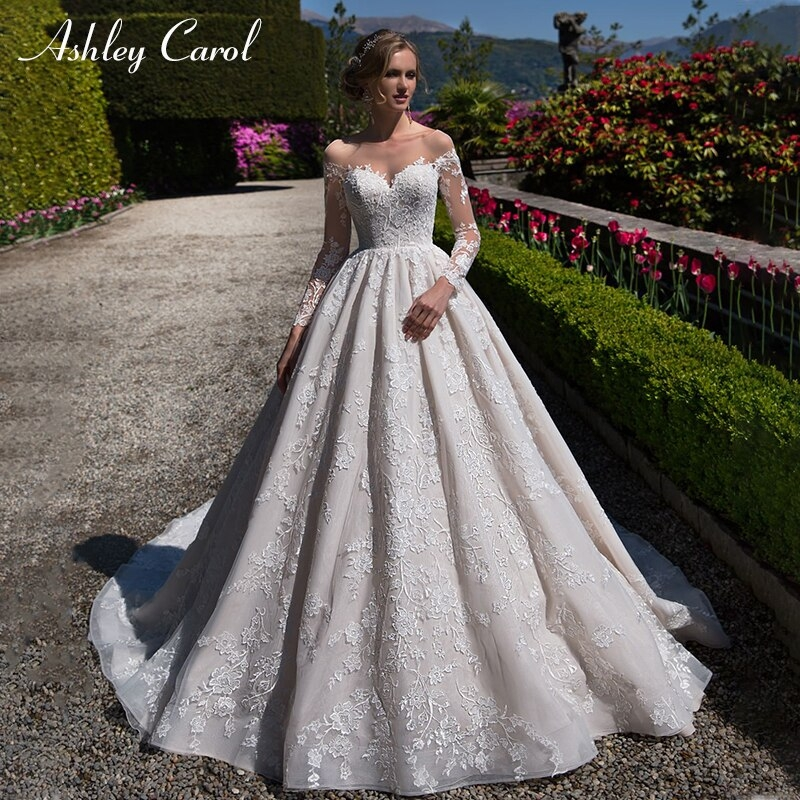 us 29889 19 offashley carol sexy sweetheart backless long sleeve wedding dress palace vintage bridal dress chapel train princes wedding gowns in Princes Wedding Dresses