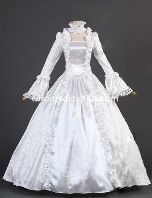 us 5382 31 off18th century white satin brocade marie antoinette period dress wedding gothic dress cosplay in dresses from womens clothing on 18th Century Wedding Dresses
