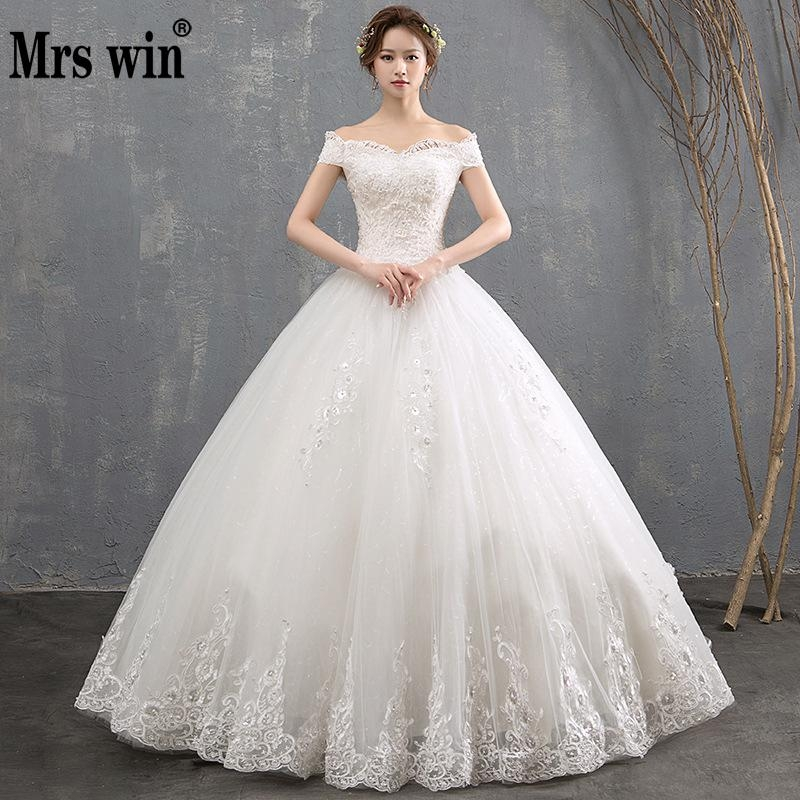 us 7866 31 offmrs win vestido de noiva 2019 new boat neck off the shoulder princess vintage wedding dress classic appliques wedding gown f in Aliexpress Wedding Dress