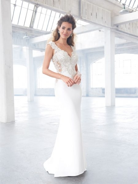 v neck beaded lace bodice low back sheath wedding dress Wedding Dresses With Low Backs
