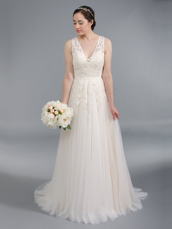 v neck lace wedding dress with tulle skirt alencon lace bridal gown Alencon Lace Wedding Dress