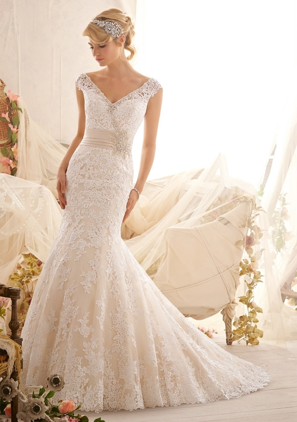 venice lace appliques on net edged with crystal beading Mori Lee Wedding Dresses s